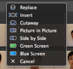 Options avaliable for iMovie video drag-in